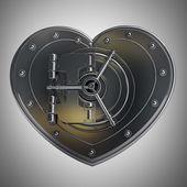 Silver heart safe — Stock Photo