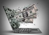 Dollar zu verlassen, von einem laptop-bildschirm-monitor — Stockfoto