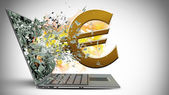 Broken screen of laptop with fire and euro symbol — Stock Photo