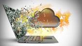 Wolke kapsel ausfahrt von einem laptop-bildschirm-monitor. — Stockfoto