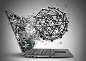 Atom molecules structure exit by a monitor of laptop screen. — Stock Photo