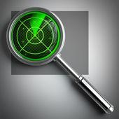 RADAR magnifying glass. — Stock Photo