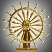 Golden sea steering-wheel — Stock Photo