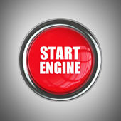 Red engine start button — Stock Photo