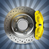 Brake disk with a yellow support. — Stock Photo