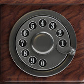 Silver telephone disc background — Stock Photo