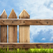 Wooden fence with green grass  — Stockfoto