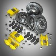 Disassembled Brake Disc with yellow Calliper from a Racing Car — Stock Photo