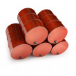 Red FUEL barrels — Stock Photo