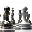 Black and white chess pawn background — Stock Photo