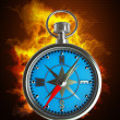 Compass in Fire. — Stock Photo