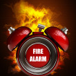 Alarm clock in Fire — Stock fotografie