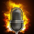 Retro microphone in Fire — Stock Photo