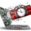 Bomb with clock timer exit by a monitor of laptop screen. — Stock Photo