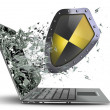 Shield exit by a monitor of laptop screen. — Stock Photo
