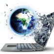 Globe exit by a monitor of laptop screen — Stock Photo