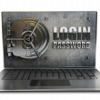 Laptop with steel security password — Stock Photo