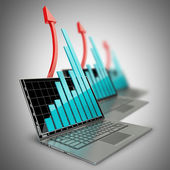 Three laptops with graph and red arrow — Stock Photo