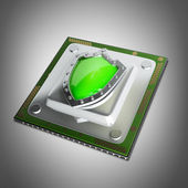 Processor unit CPU with green shield — Stock Photo