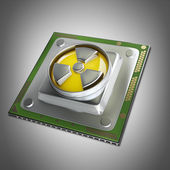 Processor unit CPU with radiation symbol — Stock Photo