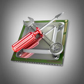 Processor unit CPU with tools — 图库照片
