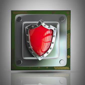 Processor unit CPU with red shield — Stock Photo