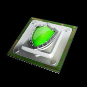 Processor unit CPU with green shield. — Stock Photo