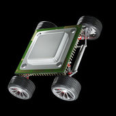 Central processing unit on big wheels. — Stock Photo