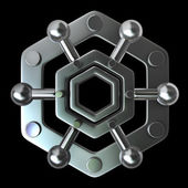 Silver glossy molecules structure — Stock Photo
