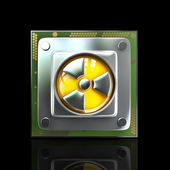 Processor unit CPU with radiation symbol. — Stock Photo