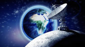 Moon with big satellite dishes antenna — Stock Photo