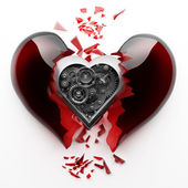 Red broken heart with Mechanical heart inside — Stock Photo