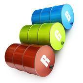 CMYK FUEL barrels — Stock Photo