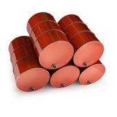 Red FUEL barrels — Stock Photo