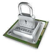 Processor unit CPU the lock. — Zdjęcie stockowe