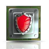 Processor unit CPU with red shield. — Stock Photo