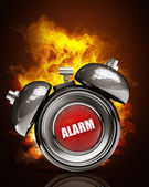 Alarm clock in Fire — Stock Photo