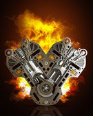 V8 Car engine in Fire — Stock Photo