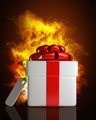 Gift box with the Tag in Fire — 图库照片