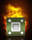 Processor unit CPU concept in Fire — Stock Photo