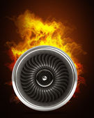 Jet engine in Fire — Stock Photo