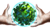 Hands holding earth globe — Stock Photo