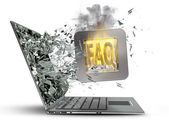Tick symbol flaming icon exit by a monitor of laptop screen. — Stock Photo