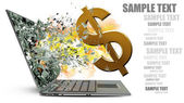 Laptop with broken screen on fire dollar symbol — Stock Photo