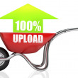 Red wheelbarrow with green upload arrow  — Stock Photo