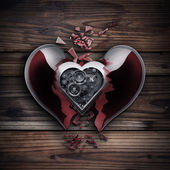 Concept. red broken heart — Foto Stock