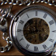 Old silver pocket watch with the second hand moving. — Vidéo