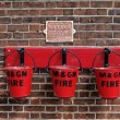 Fire buckets at Sheringham Station — Stock Photo