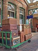 1940s style luggage at Sheringham station. — Stock Photo