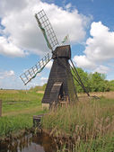 17th century wooden wind driven fen drainage pump. — Stock Photo